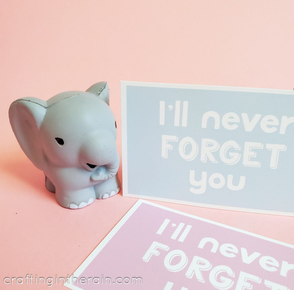 Printable elephant Valentine