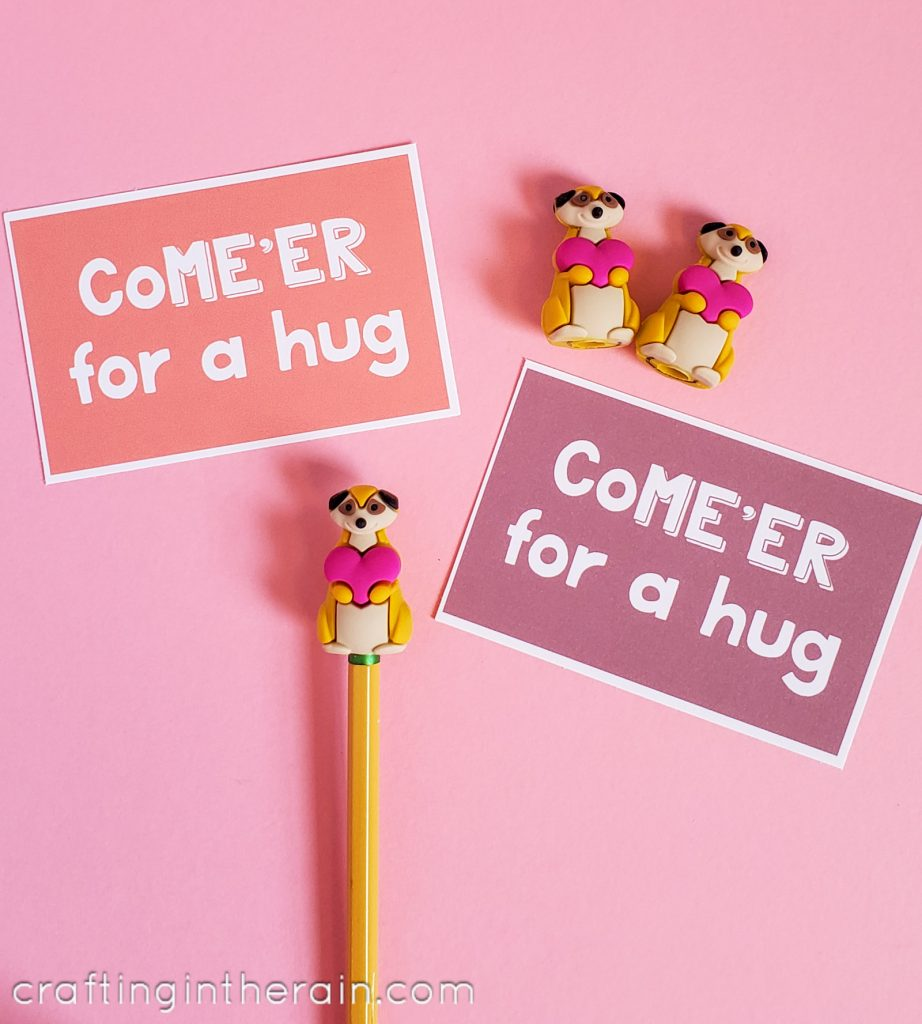 Meerkat pencil toppers Valentine