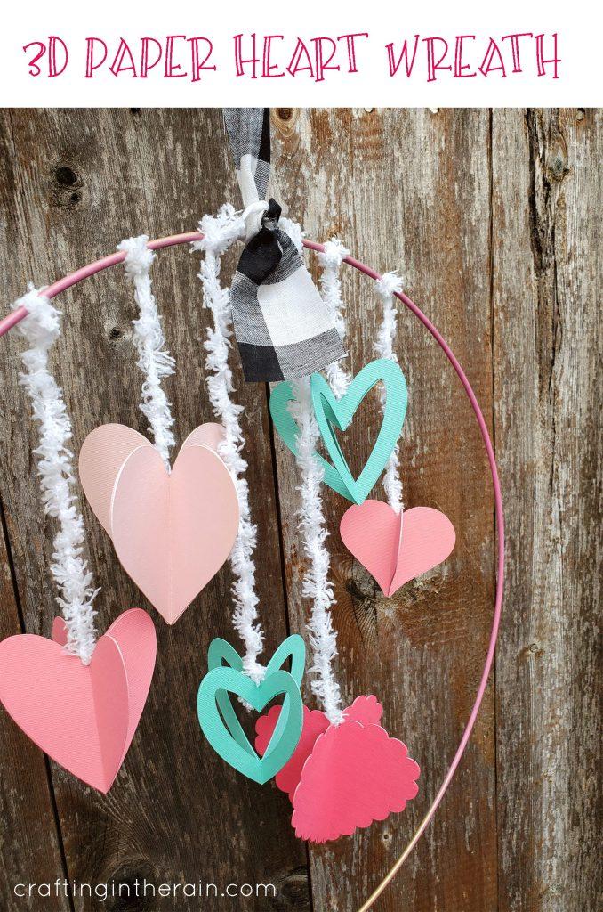 3D paper heart wreath