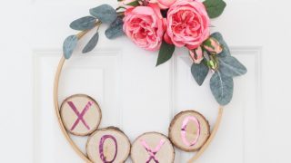 Valentine's Day Wreath with Wood Slices