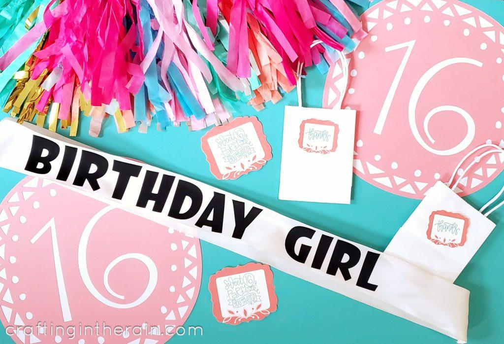 Sweet 16 party Cricut decorations