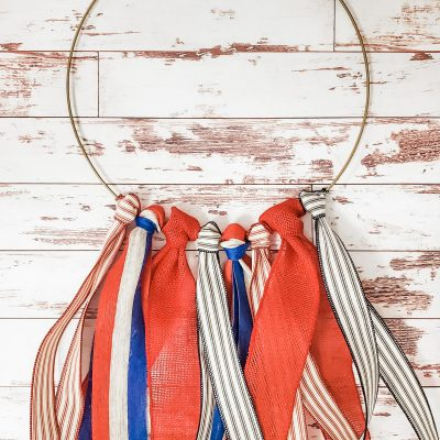 Patriotic Ribbon Hoop Wreath