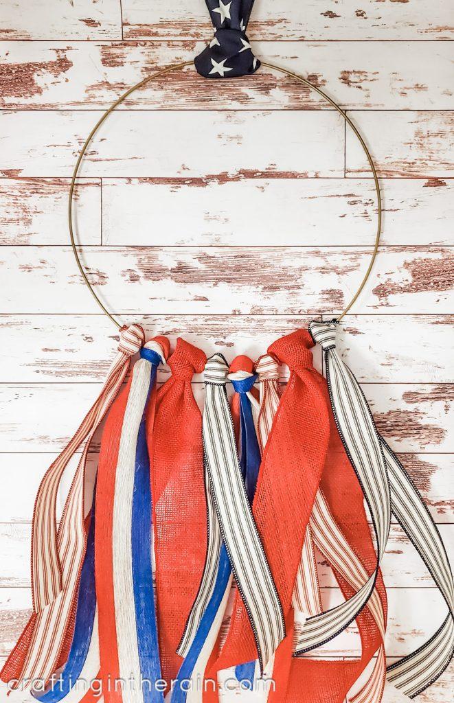 Hanging ribbon hoop wreath