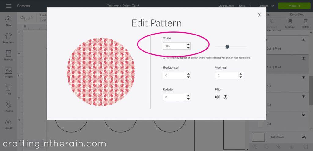Edit print pattern in Design Space