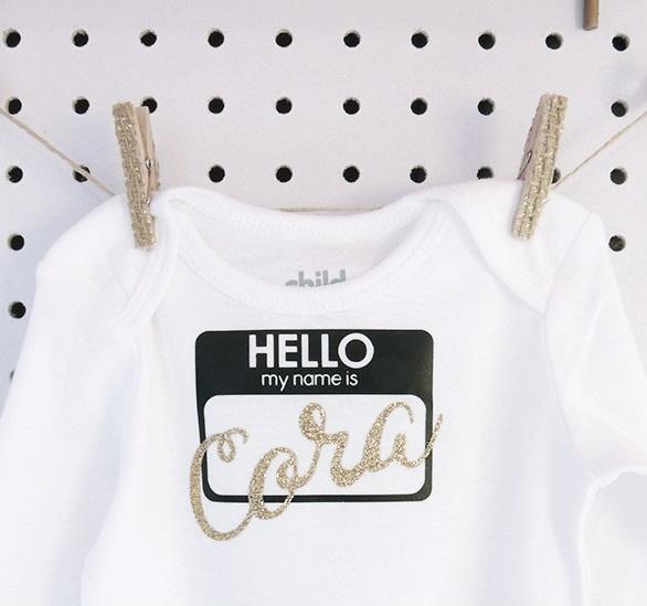 hello name tag onesie