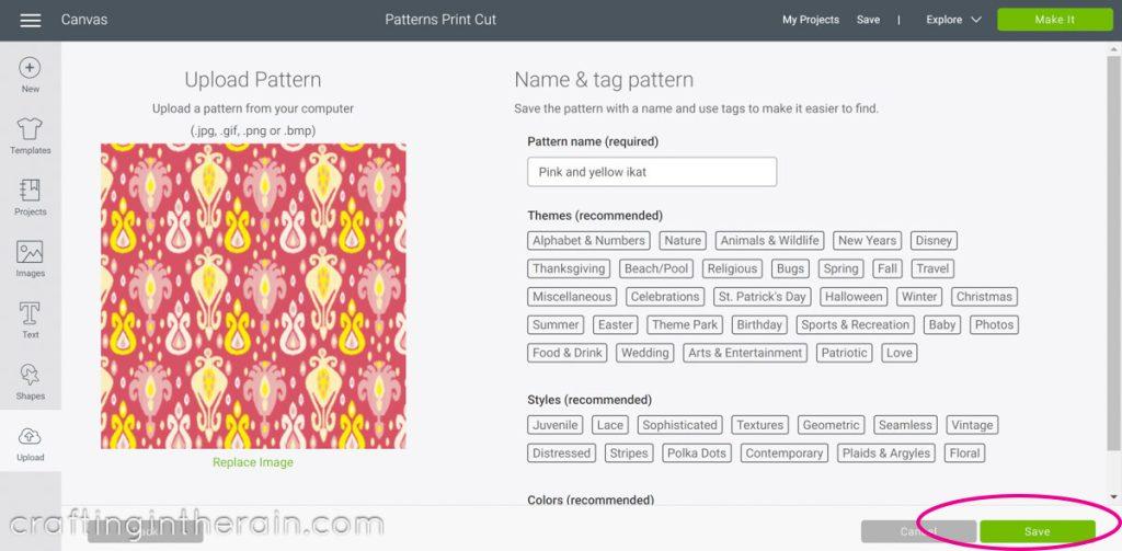Save digital paper in Design Space