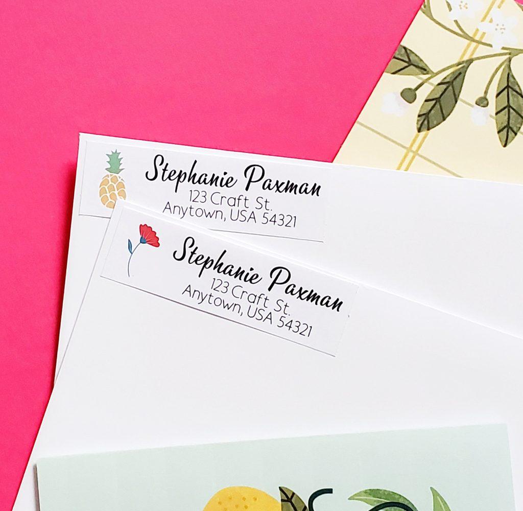 Cricut return labels on envelopes