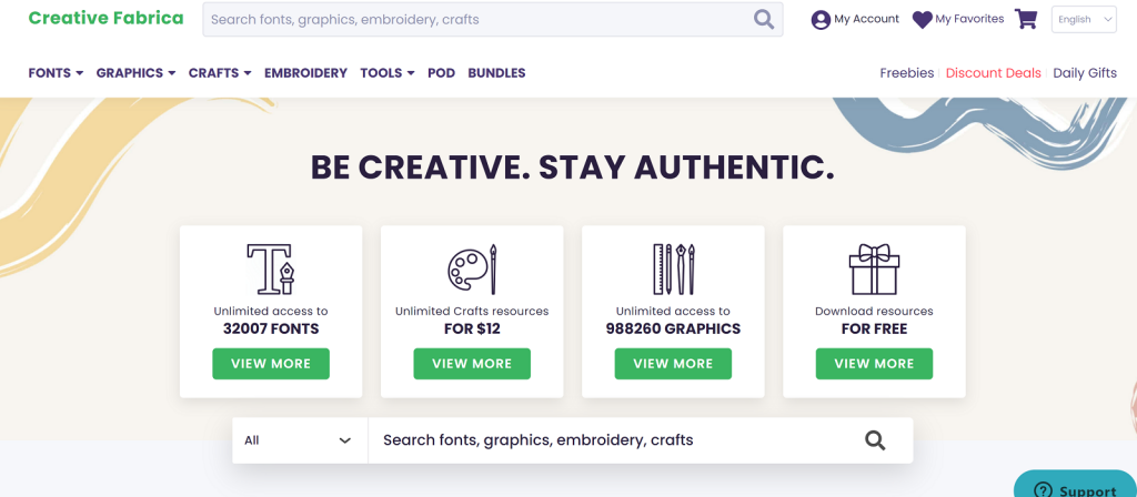 Creative Fabrica home page