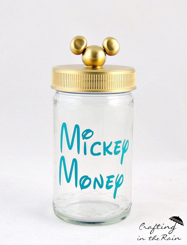 Disney savings jar with gold lid