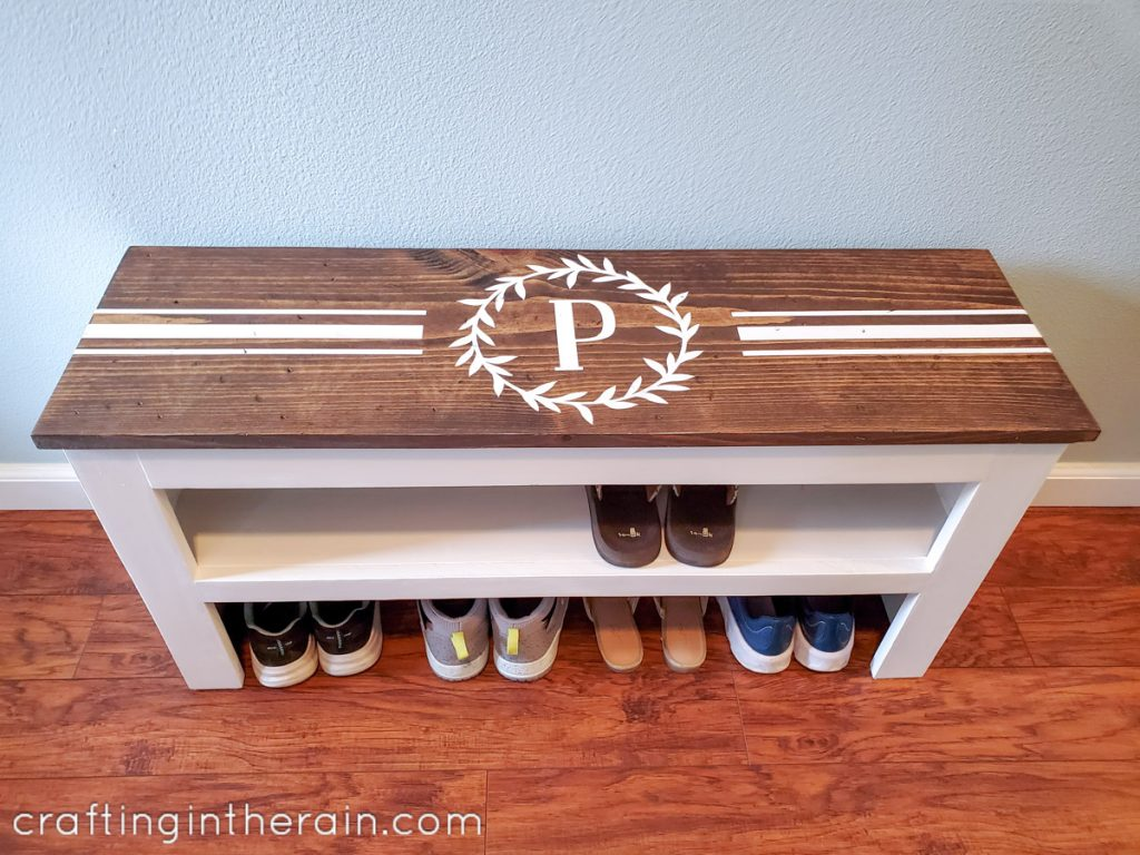 Farmhouse style shoe bench