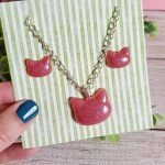 Resin Cat Earrings and Necklace