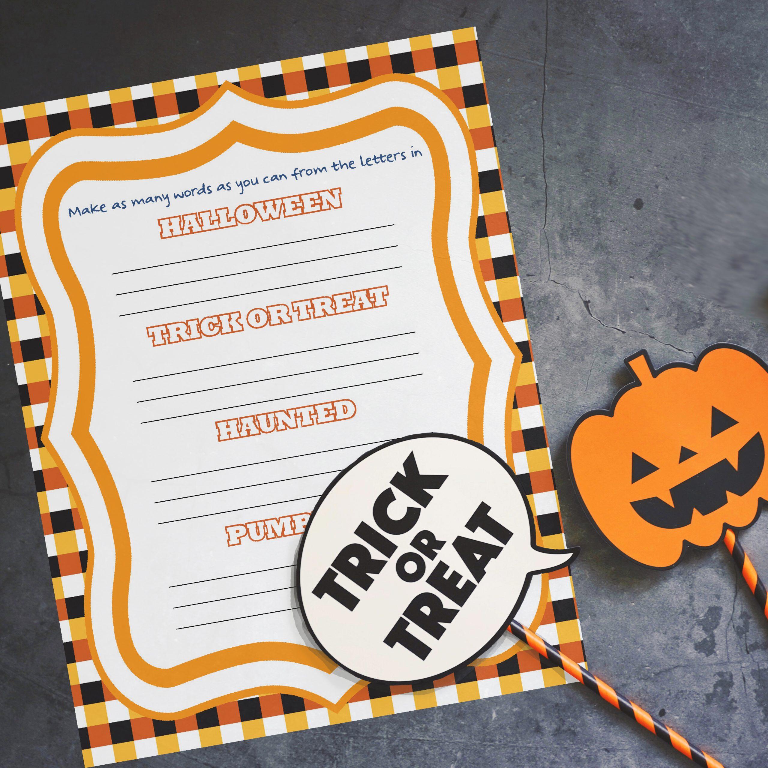 Printable Halloween word game
