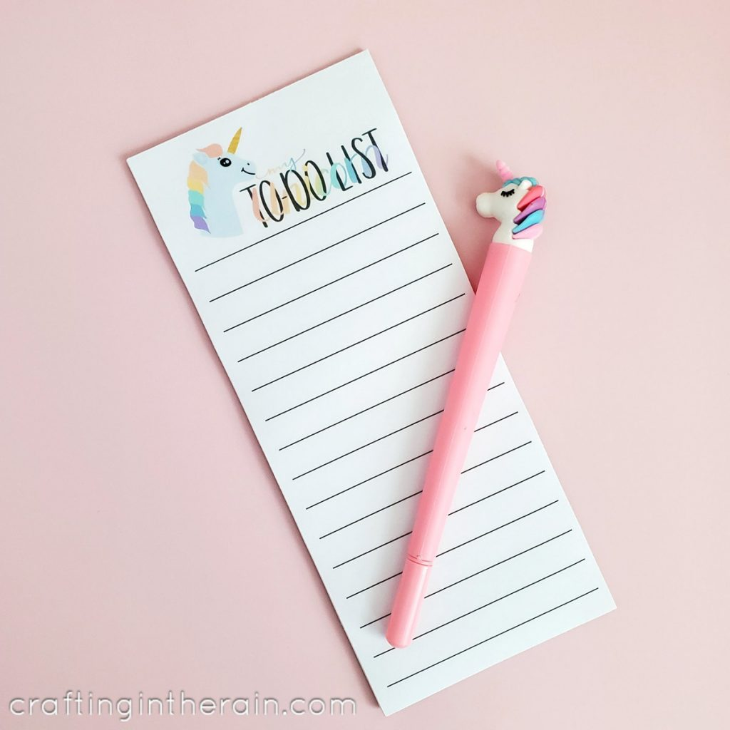 printable unicorn to do list