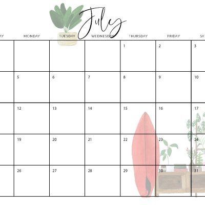 2021 Free Boho Calendar