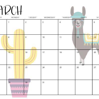 2021 Llama Calendar Free Printable