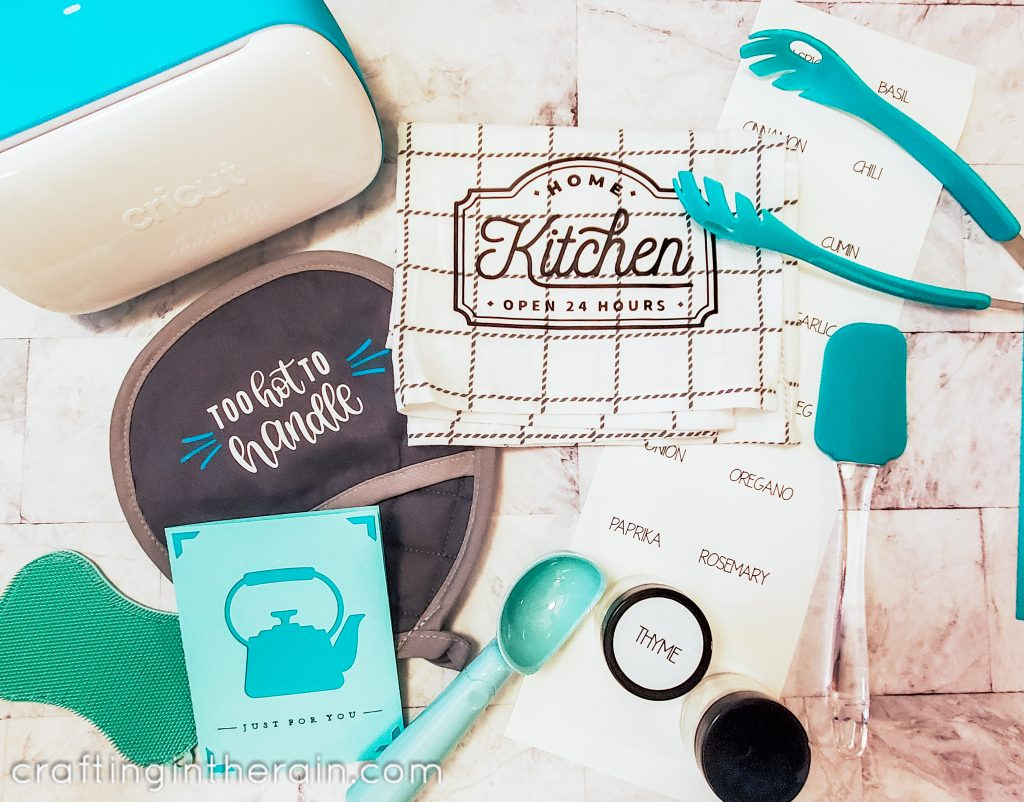 kitchen gift cricut with teal accessories