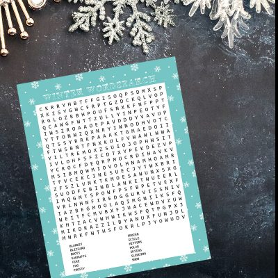 Winter Wordsearch Printable
