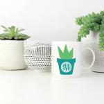 plant monogram mug