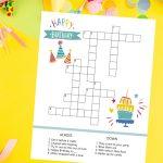 birthday crossword printable