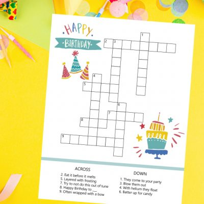Birthday Crossword Printable
