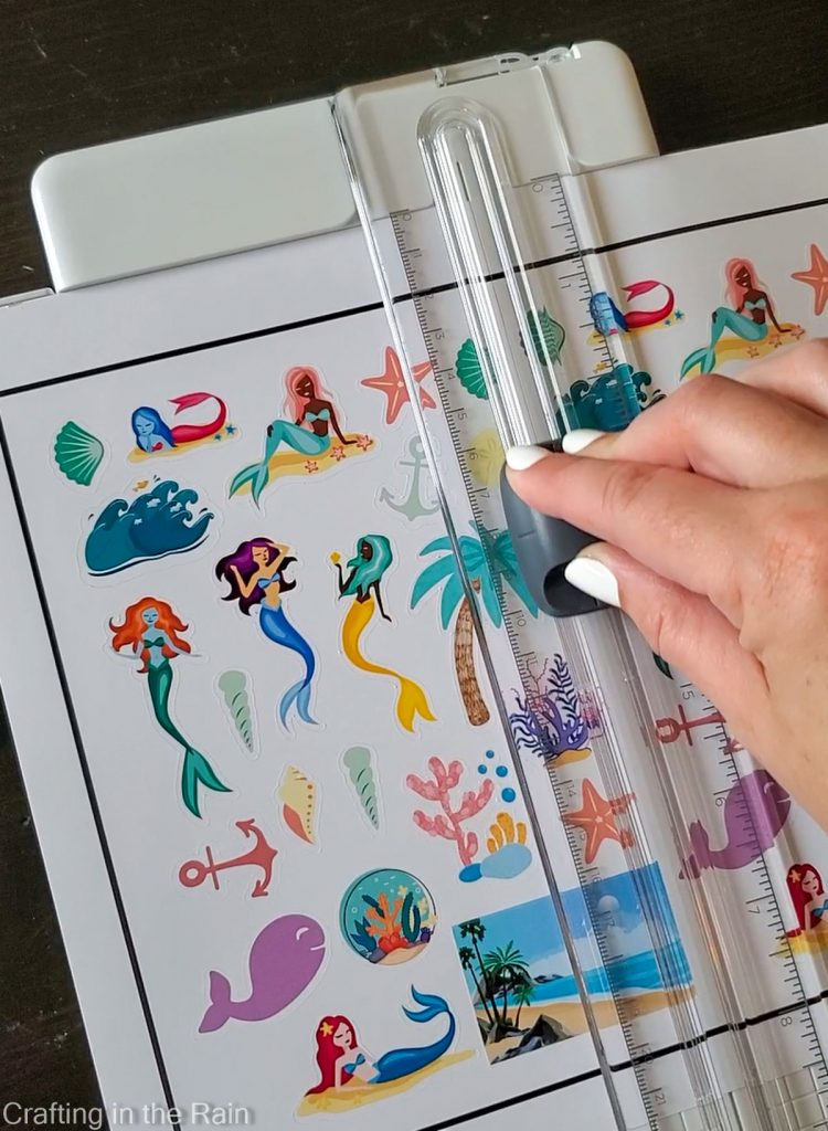 cut stickers with paper trimmer